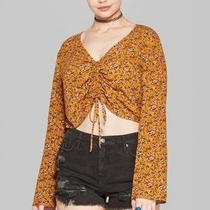 Women's Floral Long Sleeve Ruched Front Blouse